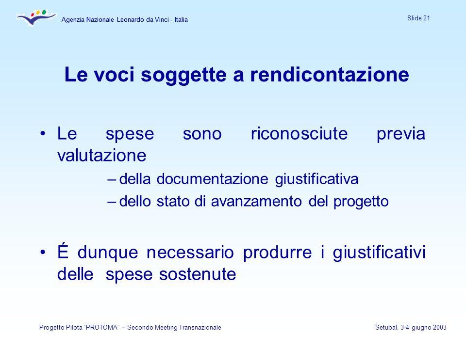 Agenzia Nazionale Leonardo da Vinci - Italia Slide 21 Agenzia Nazionale Leonardo da Vinci - Italia Progetto Pilota PROTOMA – Secondo Meeting Transnazi