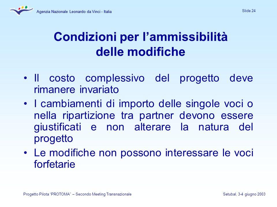 Agenzia Nazionale Leonardo da Vinci - Italia Slide 24 Agenzia Nazionale Leonardo da Vinci - Italia Progetto Pilota PROTOMA – Secondo Meeting Transnazi