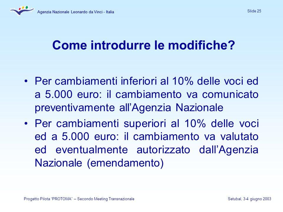 Agenzia Nazionale Leonardo da Vinci - Italia Slide 25 Agenzia Nazionale Leonardo da Vinci - Italia Progetto Pilota PROTOMA – Secondo Meeting TransnazionaleSetubal, 3-4 giugno 2003 Come introdurre le modifiche.