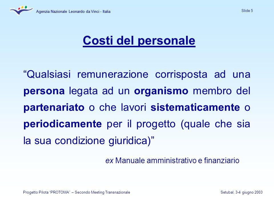Agenzia Nazionale Leonardo da Vinci - Italia Slide 5 Agenzia Nazionale Leonardo da Vinci - Italia Progetto Pilota PROTOMA – Secondo Meeting Transnazio