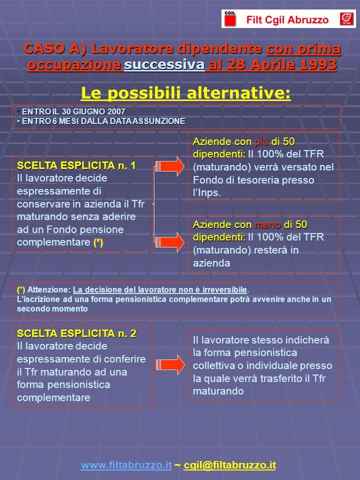 CASO A) Lavoratore dipendente con prima occupazione successiva al 28 Aprile 1993 Aziende con più di 50 dipendenti: Aziende con più di 50 dipendenti: Il 100% del TFR (maturando) verrà versato nel Fondo di tesoreria presso lInps.