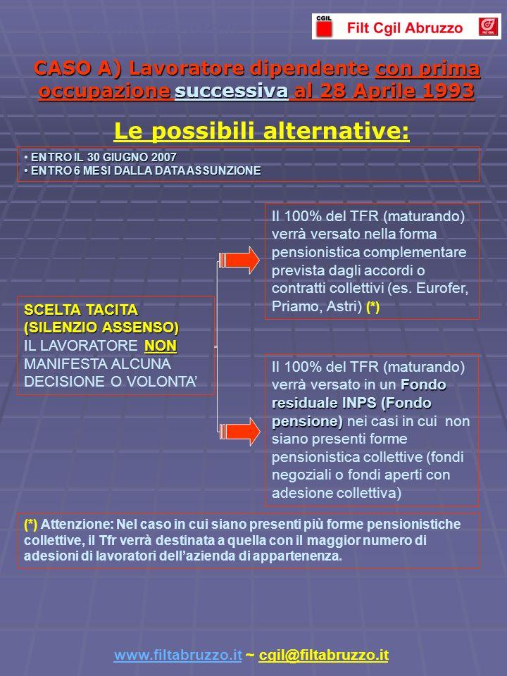 CASO A) Lavoratore dipendente con prima occupazione successiva al 28 Aprile 1993 Il 100% del TFR (maturando) verrà versato nella forma pensionistica complementare prevista dagli accordi o contratti collettivi (es.