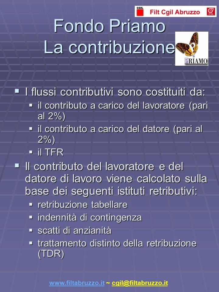 Fondo Priamo La contribuzione I flussi contributivi sono costituiti da: I flussi contributivi sono costituiti da: il contributo a carico del lavoratore (pari al 2%) il contributo a carico del lavoratore (pari al 2%) il contributo a carico del datore (pari al 2%) il contributo a carico del datore (pari al 2%) il TFR il TFR Il contributo del lavoratore e del datore di lavoro viene calcolato sulla base dei seguenti istituti retributivi: Il contributo del lavoratore e del datore di lavoro viene calcolato sulla base dei seguenti istituti retributivi: retribuzione tabellare retribuzione tabellare indennità di contingenza indennità di contingenza scatti di anzianità scatti di anzianità trattamento distinto della retribuzione (TDR) trattamento distinto della retribuzione (TDR) www.filtabruzzo.it www.filtabruzzo.it ~ cgil@filtabruzzo.it