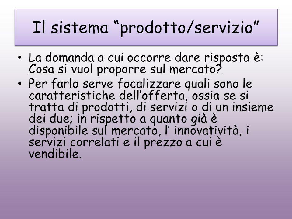 Il sistema prodotto/servizio La domanda a cui occorre dare risposta è: Cosa si vuol proporre sul mercato? Per farlo serve focalizzare quali sono le ca