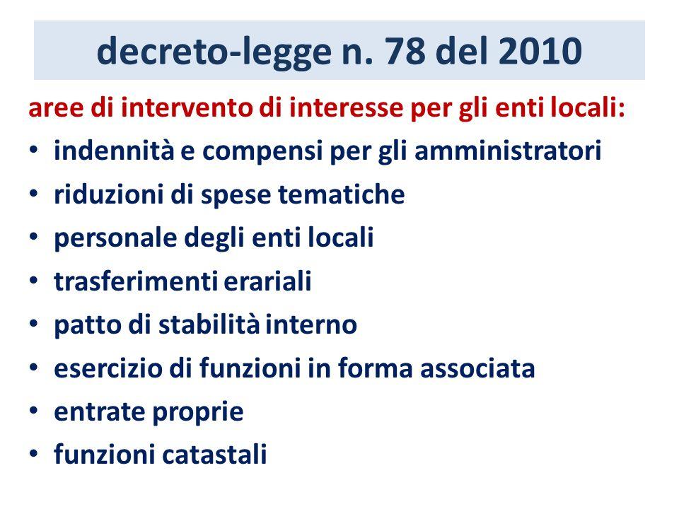 decreto-legge n. 78 del 2010 aree di intervento di interesse per gli enti locali: indennità e compensi per gli amministratori riduzioni di spese temat