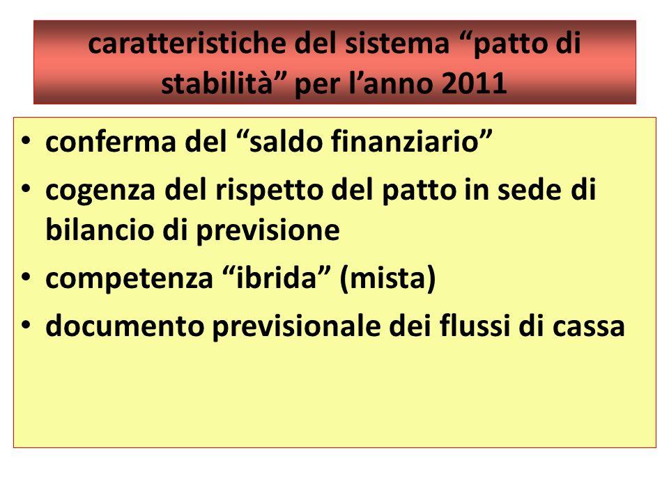 caratteristiche del sistema patto di stabilità per lanno 2011 conferma del saldo finanziario cogenza del rispetto del patto in sede di bilancio di pre