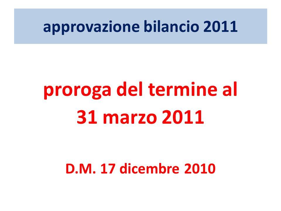 approvazione bilancio 2011 proroga del termine al 31 marzo 2011 D.M. 17 dicembre 2010