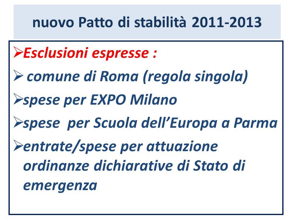 nuovo Patto di stabilità 2011-2013 Esclusioni espresse : comune di Roma (regola singola) spese per EXPO Milano spese per Scuola dellEuropa a Parma ent