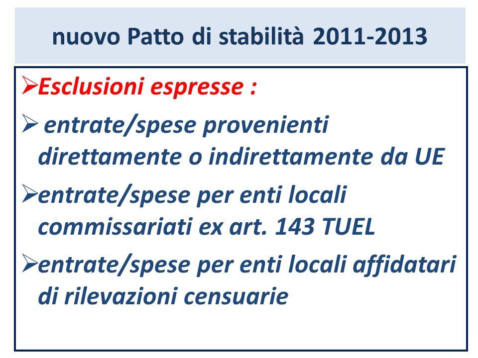 nuovo Patto di stabilità 2011-2013 Esclusioni espresse : entrate/spese provenienti direttamente o indirettamente da UE entrate/spese per enti locali c