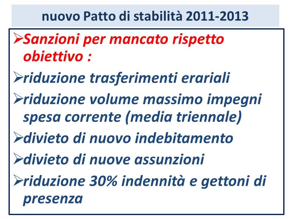 nuovo Patto di stabilità 2011-2013 Sanzioni per mancato rispetto obiettivo : riduzione trasferimenti erariali riduzione volume massimo impegni spesa c