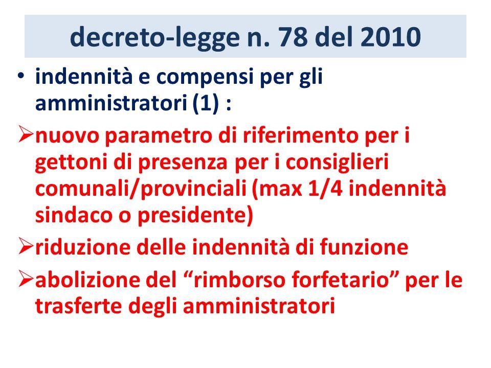 decreto-legge n. 78 del 2010 indennità e compensi per gli amministratori (1) : nuovo parametro di riferimento per i gettoni di presenza per i consigli