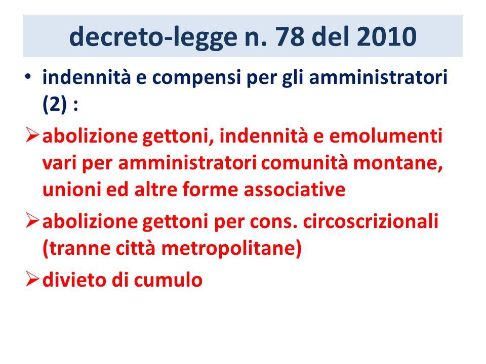 decreto-legge n. 78 del 2010 indennità e compensi per gli amministratori (2) : abolizione gettoni, indennità e emolumenti vari per amministratori comu