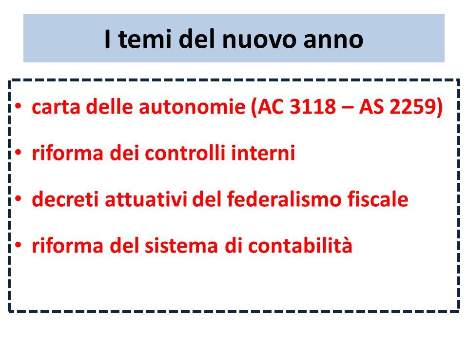 I temi del nuovo anno carta delle autonomie (AC 3118 – AS 2259) riforma dei controlli interni decreti attuativi del federalismo fiscale riforma del si