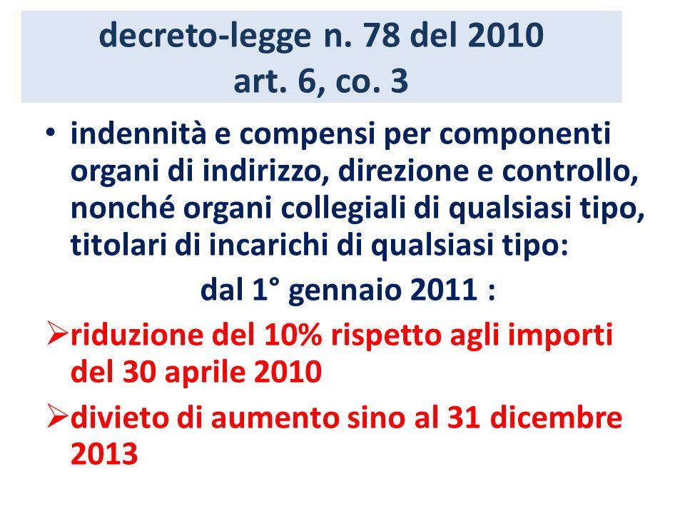 decreto-legge n. 78 del 2010 art. 6, co. 3 indennità e compensi per componenti organi di indirizzo, direzione e controllo, nonché organi collegiali di
