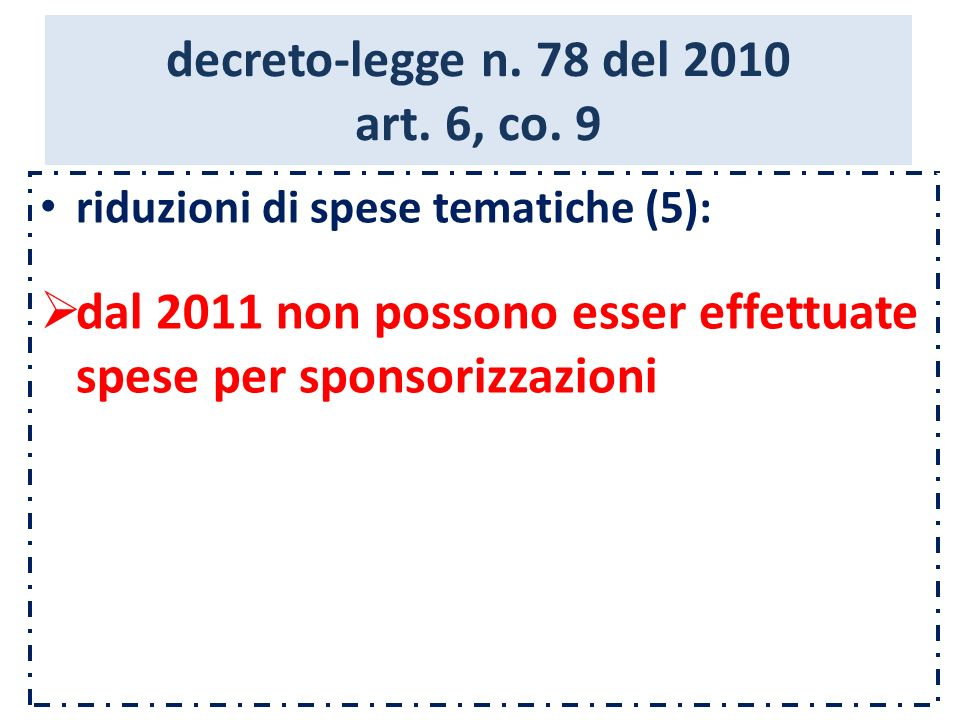 decreto-legge n. 78 del 2010 art. 6, co.