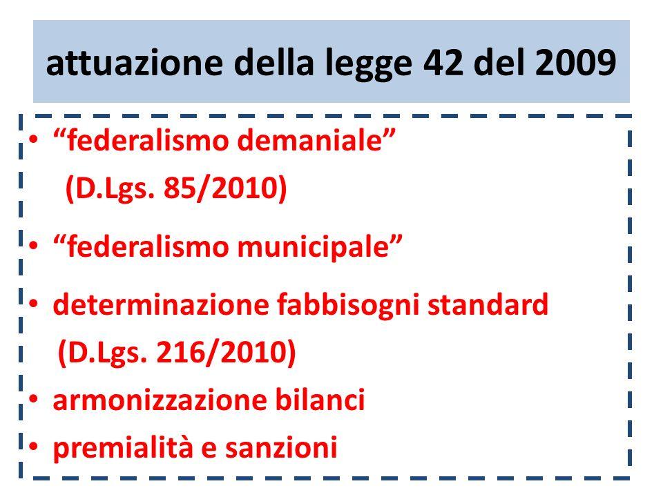 attuazione della legge 42 del 2009 federalismo demaniale (D.Lgs. 85/2010) federalismo municipale determinazione fabbisogni standard (D.Lgs. 216/2010)