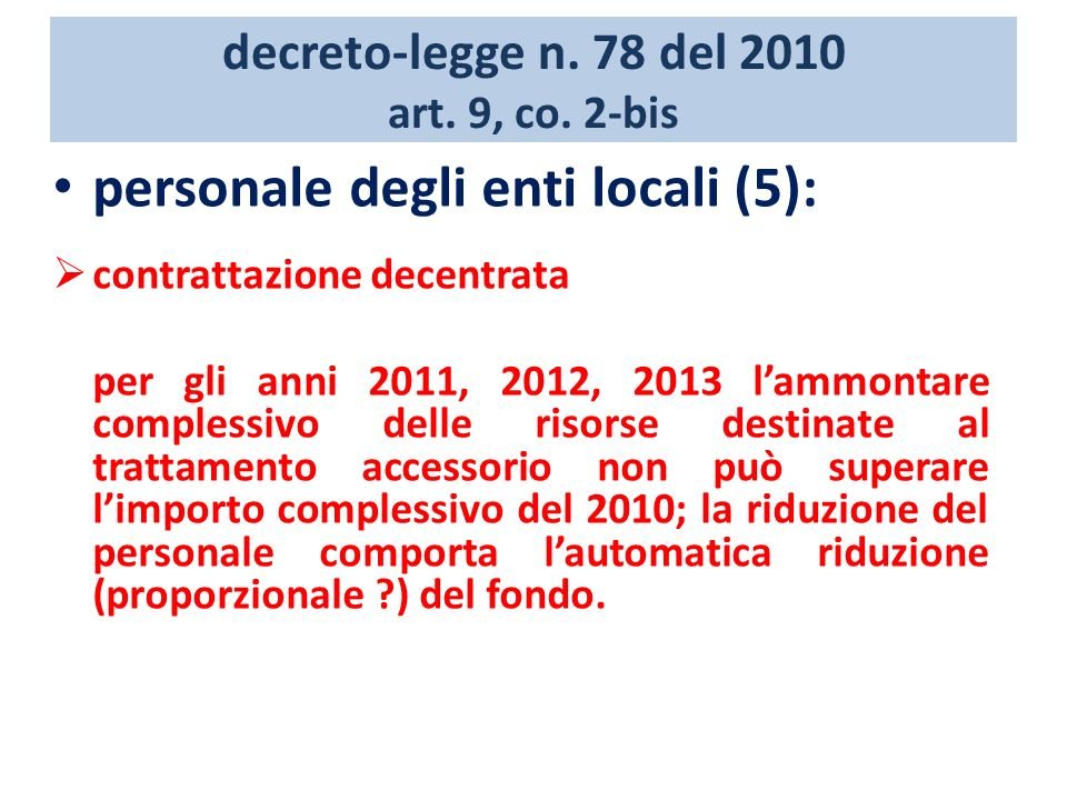 decreto-legge n. 78 del 2010 art. 9, co.