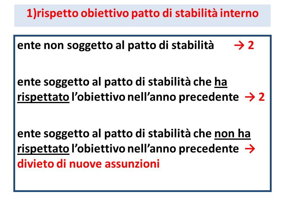1)rispetto obiettivo patto di stabilità interno ente non soggetto al patto di stabilità 2 ente soggetto al patto di stabilità che ha rispettato lobiet