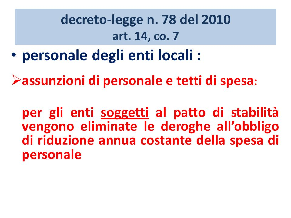 decreto-legge n. 78 del 2010 art. 14, co.
