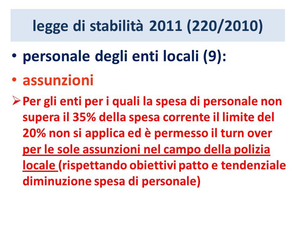 legge di stabilità 2011 (220/2010) personale degli enti locali (9): assunzioni Per gli enti per i quali la spesa di personale non supera il 35% della