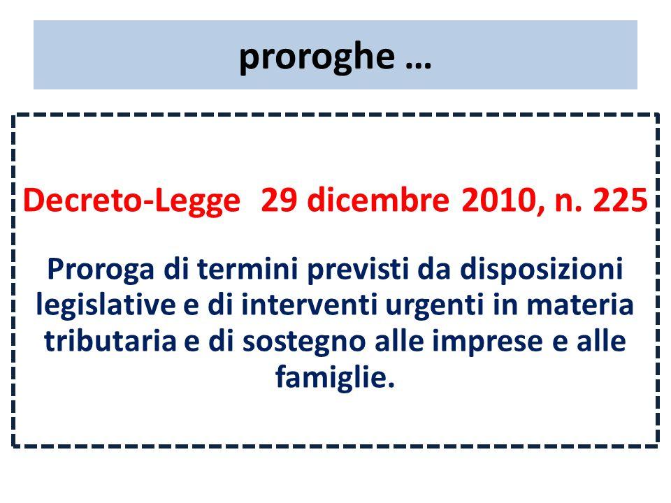 proroghe … Decreto-Legge 29 dicembre 2010, n. 225 Proroga di termini previsti da disposizioni legislative e di interventi urgenti in materia tributari