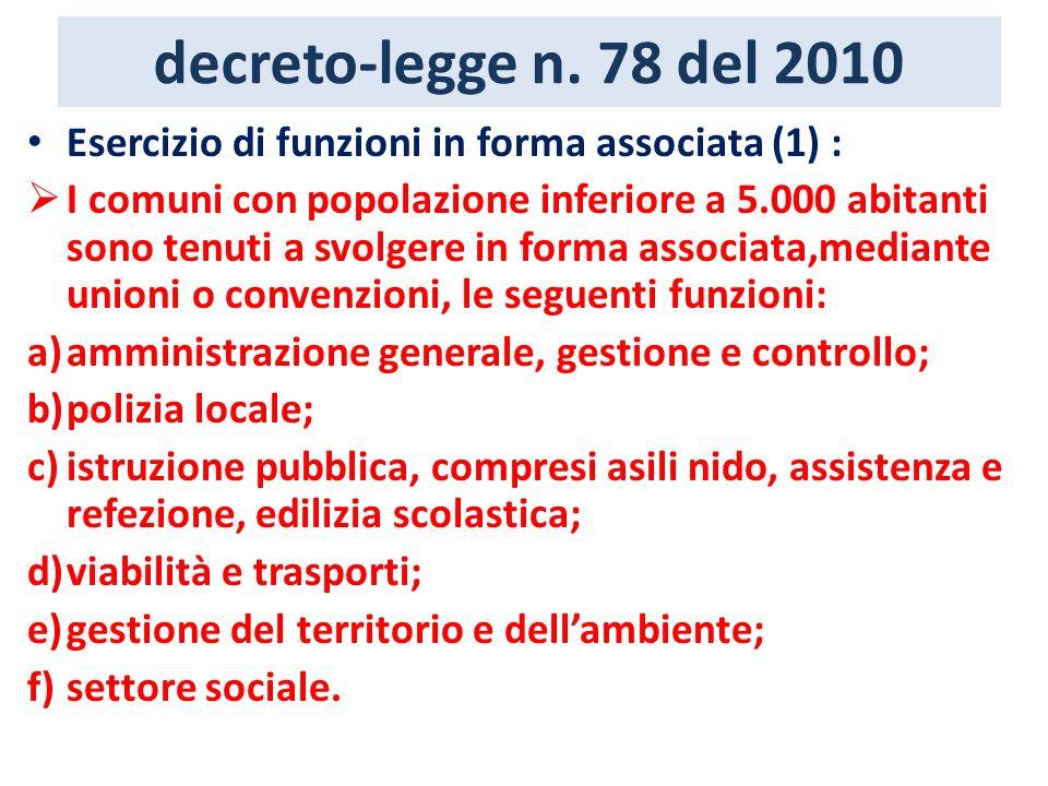 decreto-legge n. 78 del 2010 Esercizio di funzioni in forma associata (1) : I comuni con popolazione inferiore a 5.000 abitanti sono tenuti a svolgere