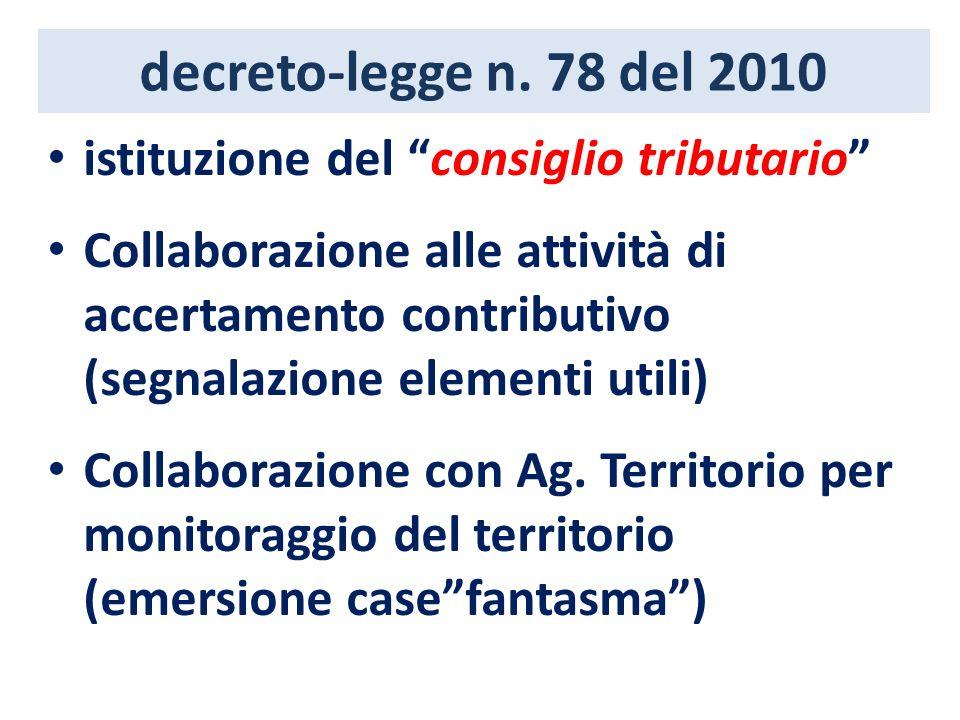 decreto-legge n. 78 del 2010 istituzione del consiglio tributario Collaborazione alle attività di accertamento contributivo (segnalazione elementi uti