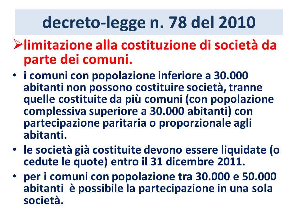 decreto-legge n. 78 del 2010 limitazione alla costituzione di società da parte dei comuni. i comuni con popolazione inferiore a 30.000 abitanti non po