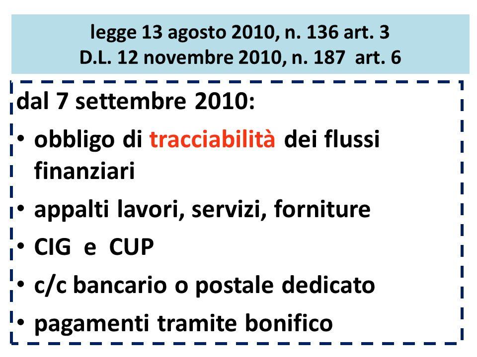 legge 13 agosto 2010, n. 136 art. 3 D.L. 12 novembre 2010, n. 187 art. 6 dal 7 settembre 2010: obbligo di tracciabilità dei flussi finanziari appalti