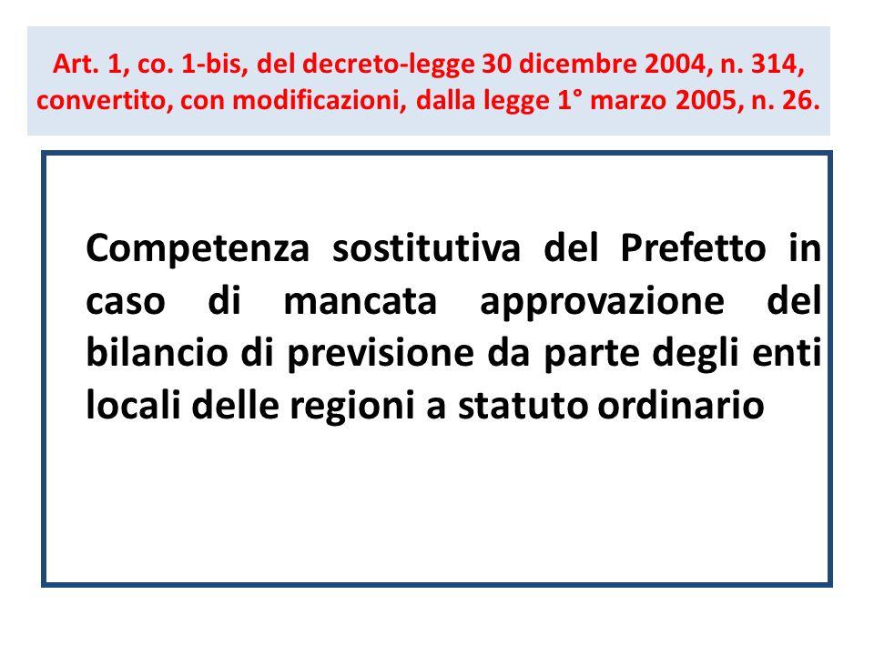 Art. 1, co. 1-bis, del decreto-legge 30 dicembre 2004, n. 314, convertito, con modificazioni, dalla legge 1° marzo 2005, n. 26. Competenza sostitutiva