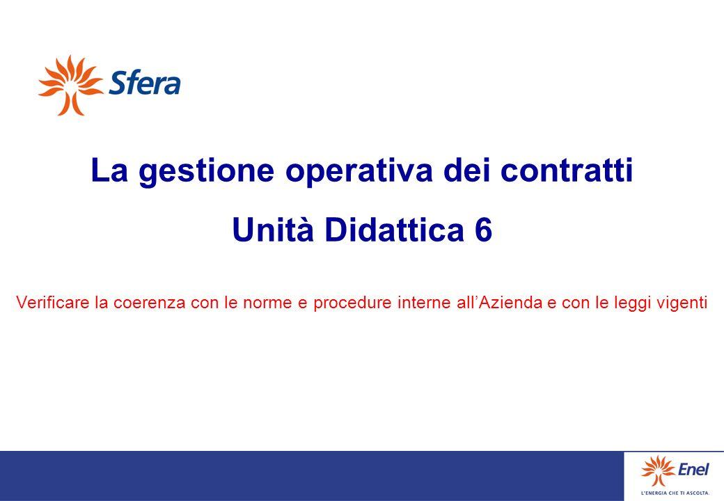 La gestione operativa dei contratti Unità Didattica 6 Verificare la coerenza con le norme e procedure interne allAzienda e con le leggi vigenti