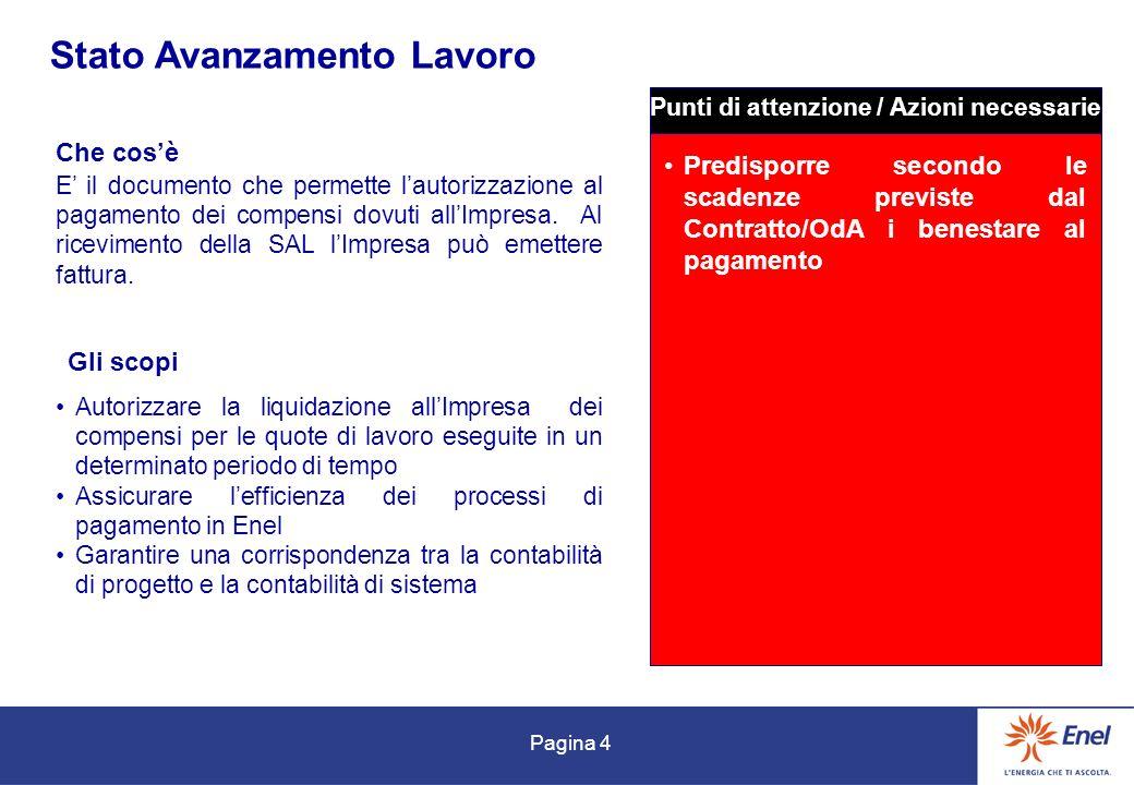 Pagina 4 Stato Avanzamento Lavoro Che cosè Gli scopi E il documento che permette lautorizzazione al pagamento dei compensi dovuti allImpresa. Al ricev