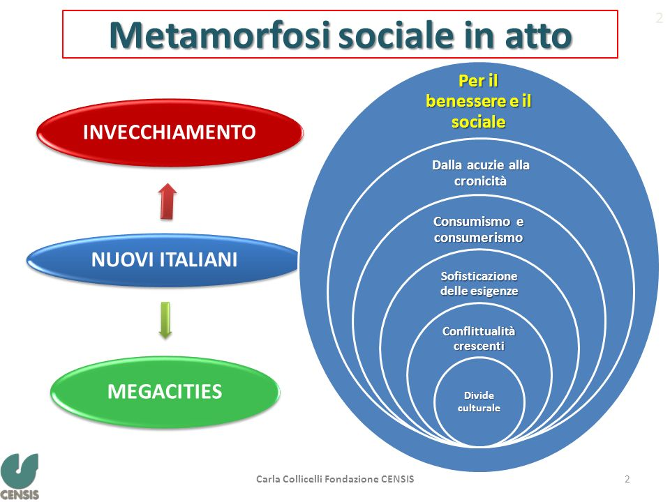 Metamorfosi sociale in atto NUOVI ITALIANI INVECCHIAMENTO MEGACITIES 2 Per il benessere e il sociale Dalla acuzie alla cronicità Consumismo e consumer