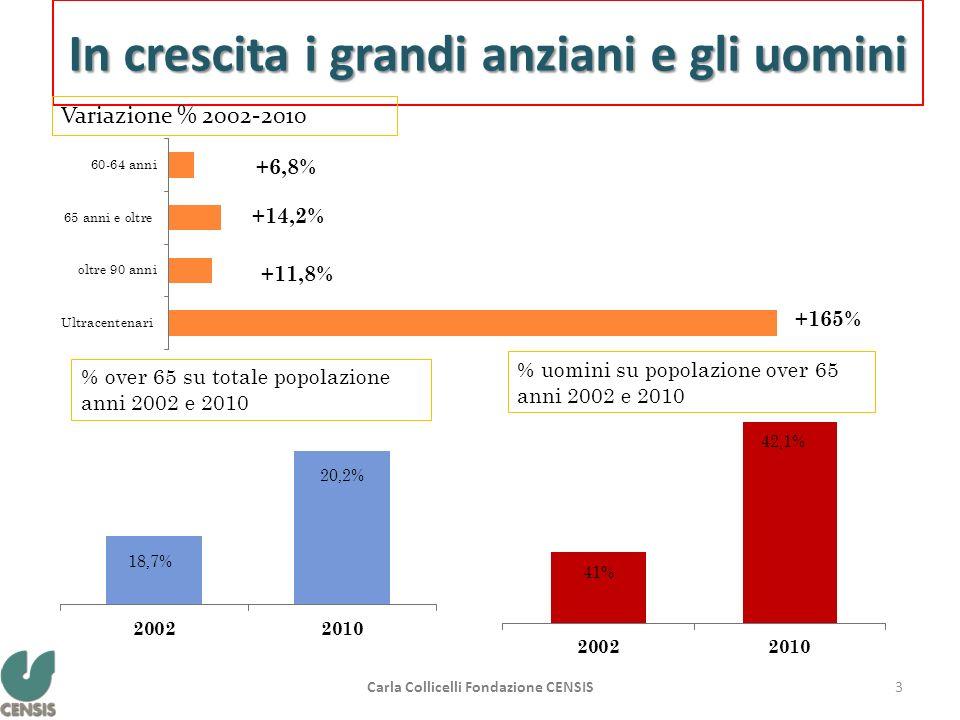 In crescita i grandi anziani e gli uomini Variazione % 2002-2010 % over 65 su totale popolazione anni 2002 e 2010 % uomini su popolazione over 65 anni