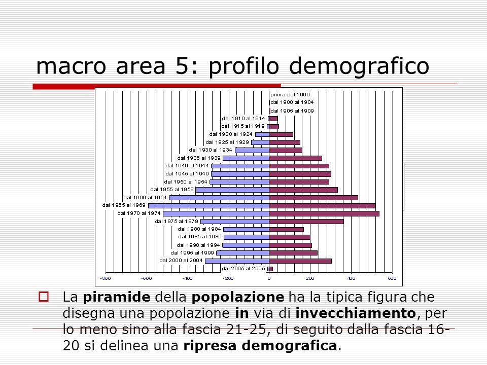 macro area 5: profilo demografico La piramide della popolazione ha la tipica figura che disegna una popolazione in via di invecchiamento, per lo meno sino alla fascia 21-25, di seguito dalla fascia 16- 20 si delinea una ripresa demografica.