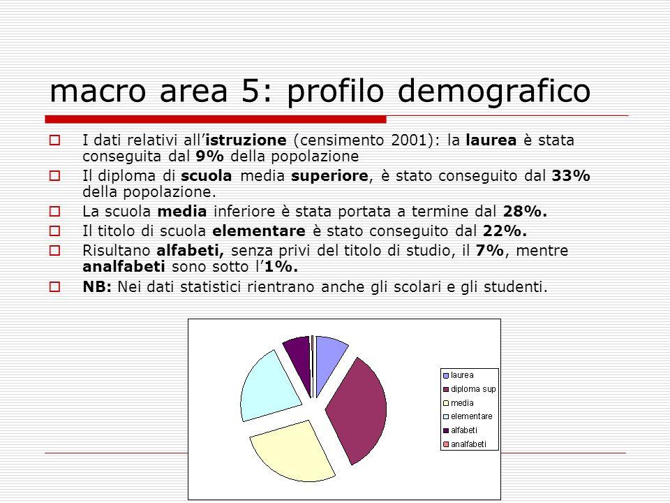 macro area 5: profilo demografico I dati relativi allistruzione (censimento 2001): la laurea è stata conseguita dal 9% della popolazione Il diploma di scuola media superiore, è stato conseguito dal 33% della popolazione.