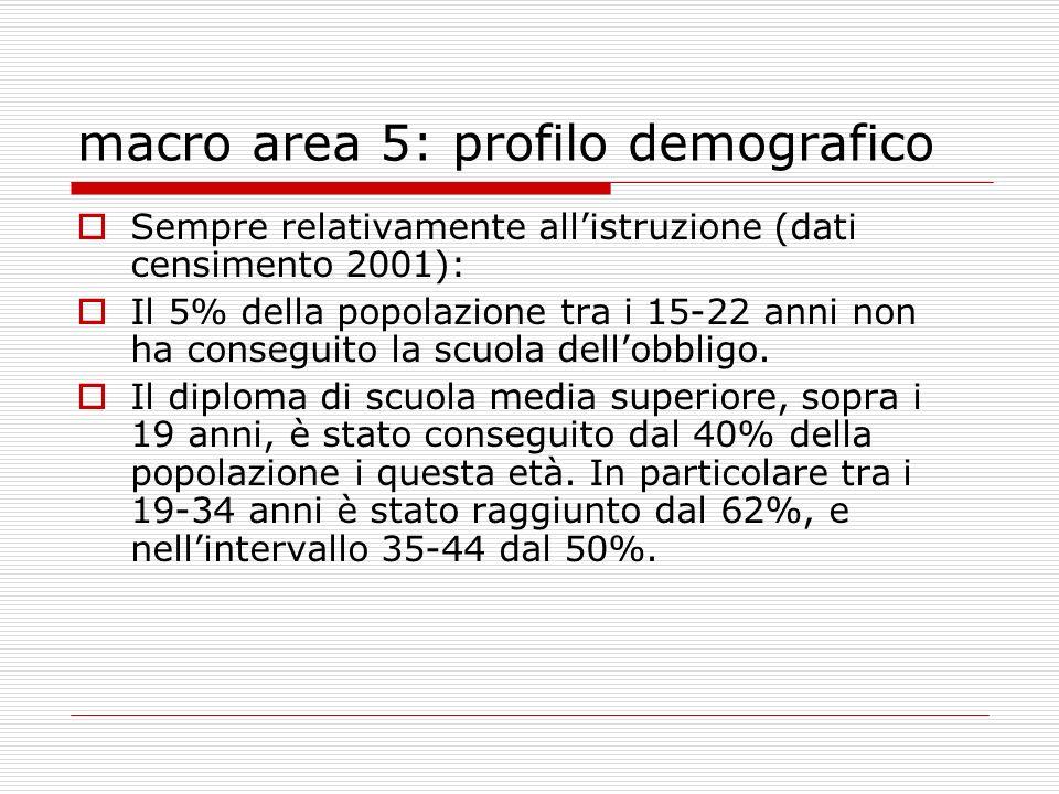 macro area 5: profilo demografico Sempre relativamente allistruzione (dati censimento 2001): Il 5% della popolazione tra i 15-22 anni non ha conseguito la scuola dellobbligo.