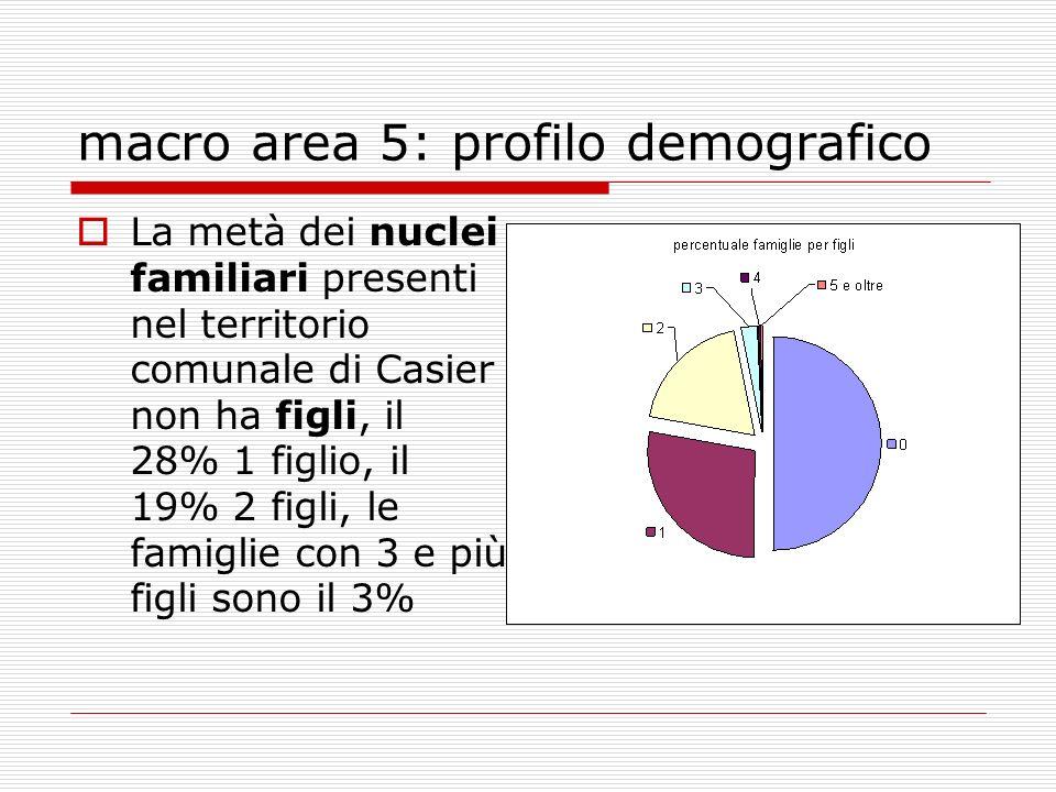 macro area 5: profilo demografico La metà dei nuclei familiari presenti nel territorio comunale di Casier non ha figli, il 28% 1 figlio, il 19% 2 figli, le famiglie con 3 e più figli sono il 3%