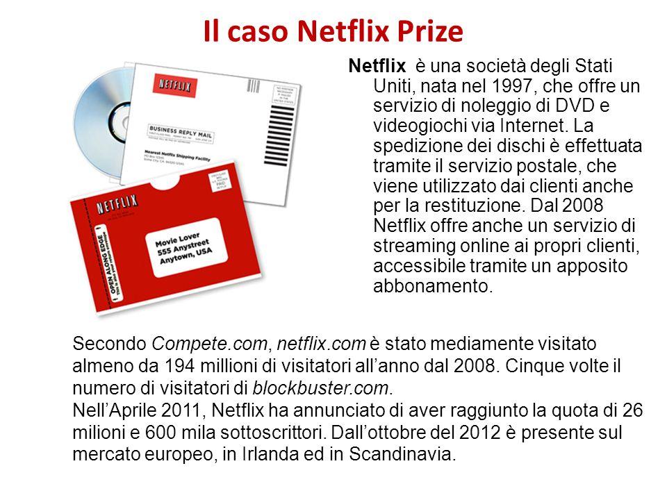 Il caso Netflix Prize Netflix è una società degli Stati Uniti, nata nel 1997, che offre un servizio di noleggio di DVD e videogiochi via Internet. La