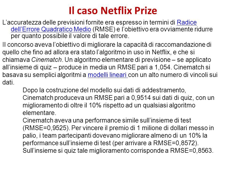 Il caso Netflix Prize Laccuratezza delle previsioni fornite era espresso in termini di Radice dellErrore Quadratico Medio (RMSE) e lobiettivo era ovvi