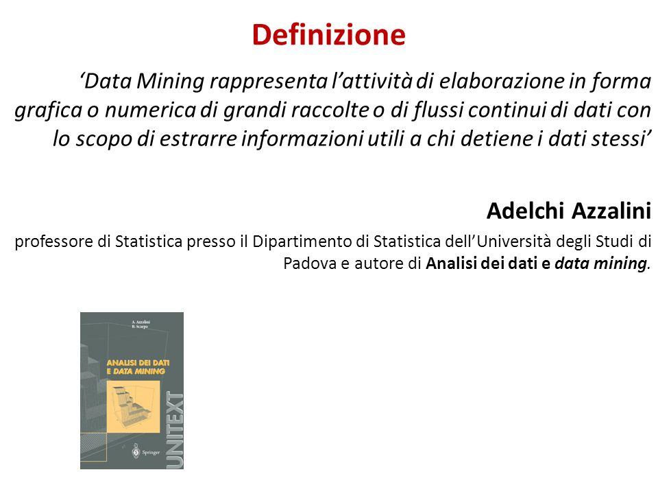 Definizione Data Mining rappresenta lattività di elaborazione in forma grafica o numerica di grandi raccolte o di flussi continui di dati con lo scopo
