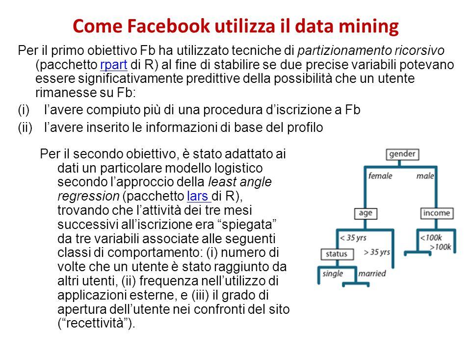 Come Facebook utilizza il data mining Per il primo obiettivo Fb ha utilizzato tecniche di partizionamento ricorsivo (pacchetto rpart di R) al fine di