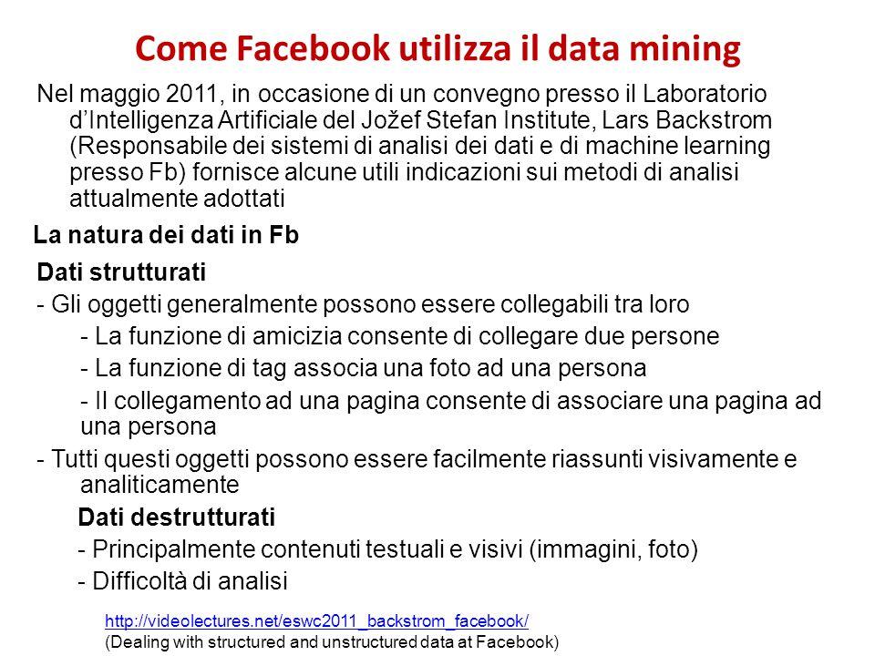 Come Facebook utilizza il data mining Nel maggio 2011, in occasione di un convegno presso il Laboratorio dIntelligenza Artificiale del Jožef Stefan In