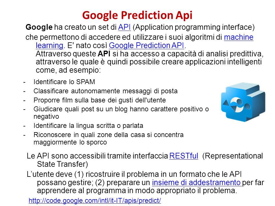 Google Prediction Api Google ha creato un set di API (Application programming interface)API che permettono di accedere ed utilizzare i suoi algoritmi