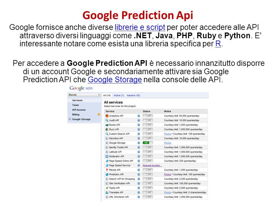 Google Prediction Api Google fornisce anche diverse librerie e script per poter accedere alle API attraverso diversi linguaggi come.NET, Java, PHP, Ru