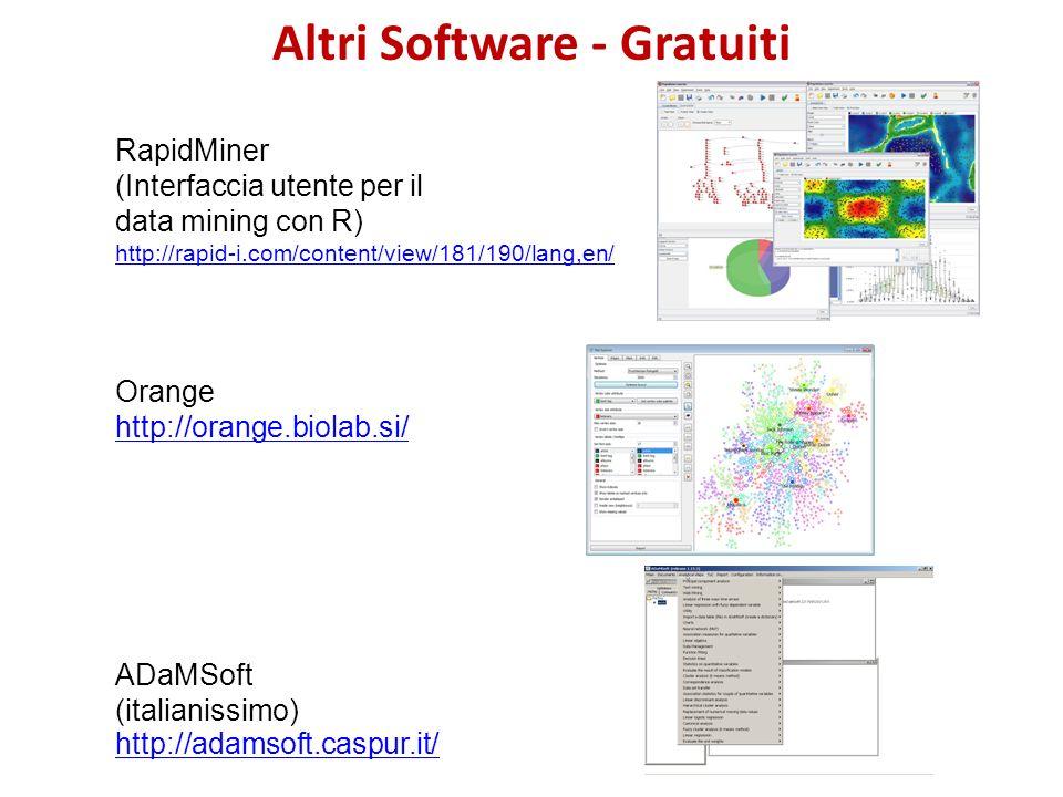 Altri Software - Gratuiti RapidMiner (Interfaccia utente per il data mining con R) http://rapid-i.com/content/view/181/190/lang,en/ Orange http://oran