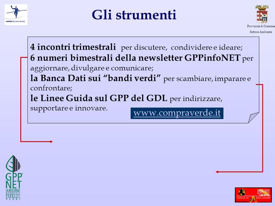 Provincia di Cremona Settore Ambiente Gli strumenti 4 incontri trimestrali per discutere, condividere e ideare; 6 numeri bimestrali della newsletter G
