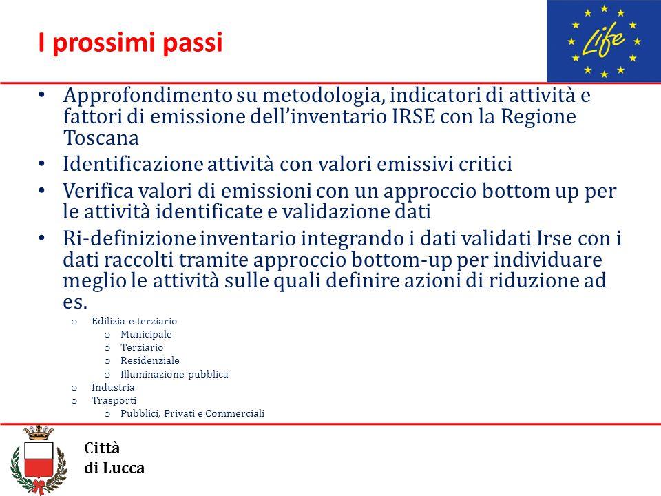 I prossimi passi Approfondimento su metodologia, indicatori di attività e fattori di emissione dellinventario IRSE con la Regione Toscana Identificazi