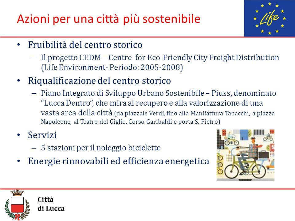Azioni per una città più sostenibile Fruibilità del centro storico – Il progetto CEDM – Centre for Eco-Friendly City Freight Distribution (Life Enviro