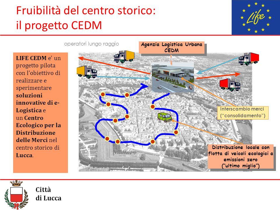 Fruibilità del centro storico: il progetto CEDM Città di Lucca Agenzia Logistica Urbana CEDM Agenzia Logistica Urbana CEDM operatori lungo raggio Inte